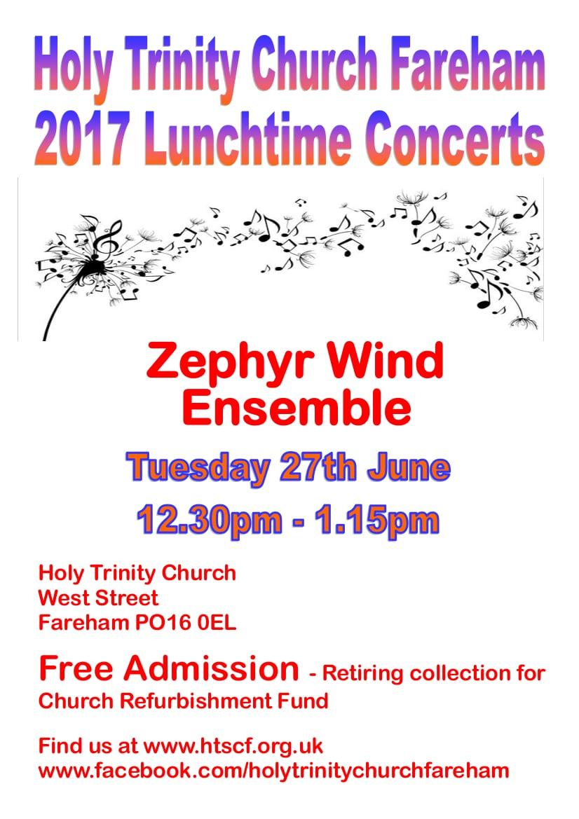 Lunchtime concert at Holy Trinity Church, Fareham – The Zephyr Wind Ensemble: wind band - Holy Trinity Fareham Music Events