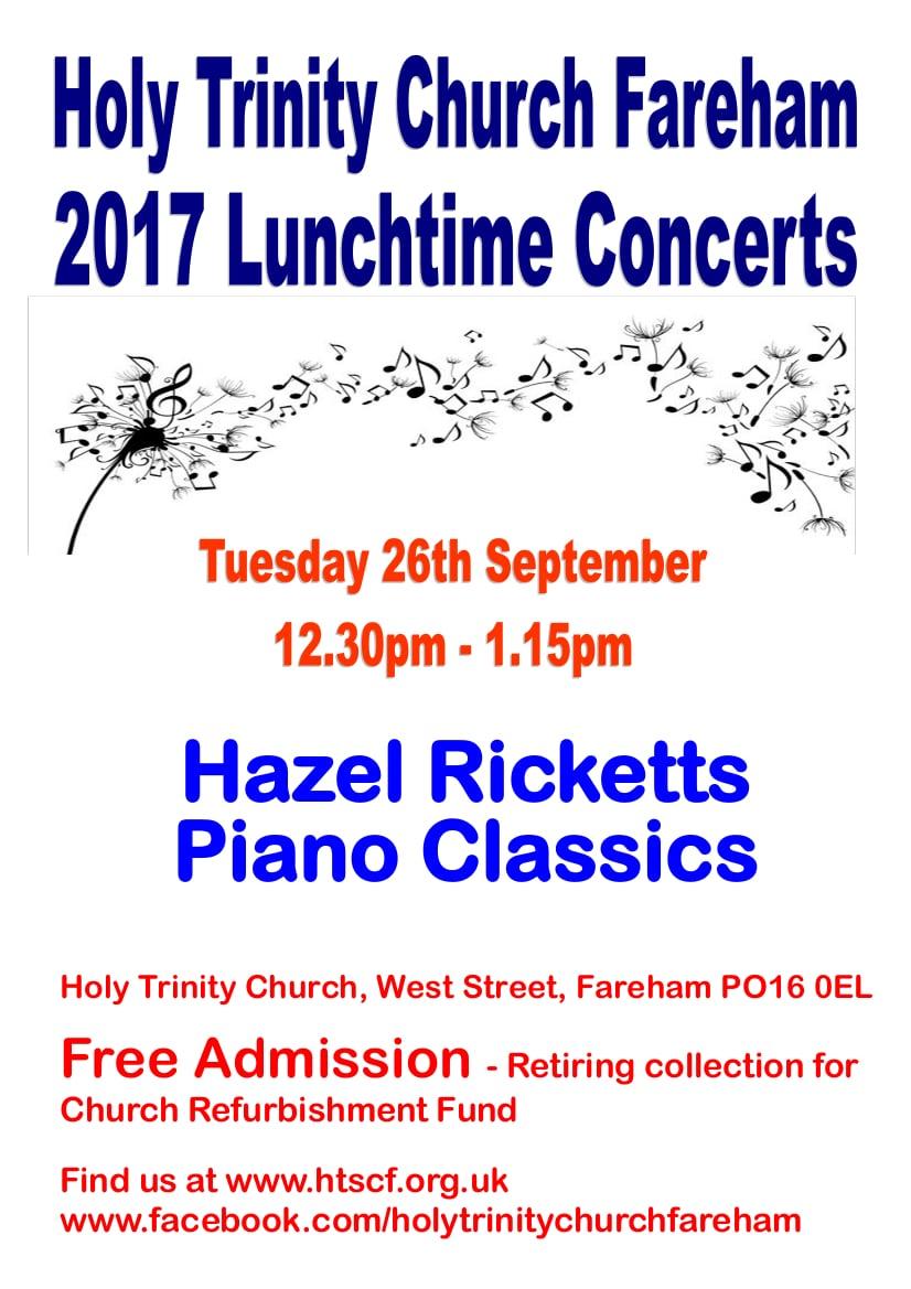 Lunchtime concert at Holy Trinity Church, Fareham – Hazel Ricketts: piano classics - Holy Trinity Fareham Music Events