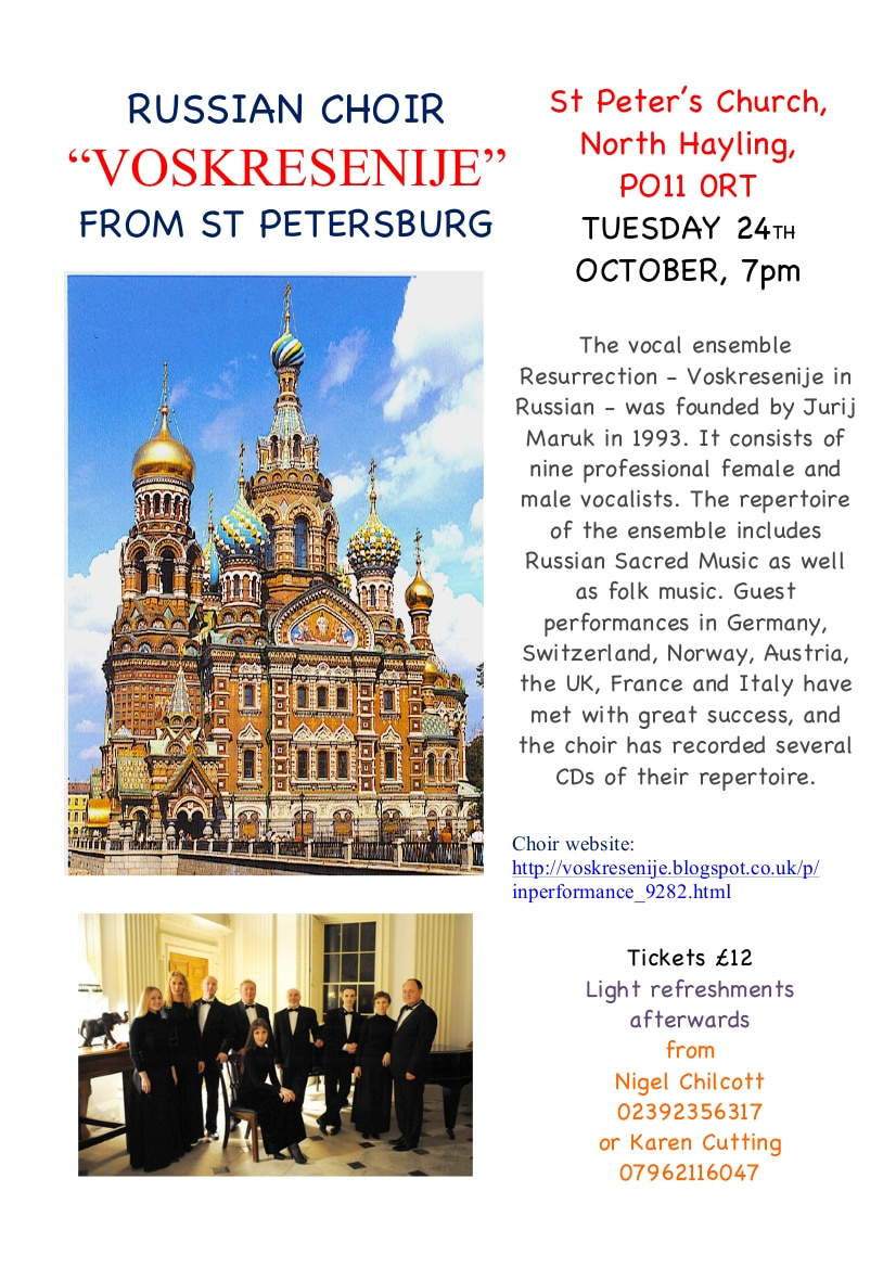"St Peter's Hayling Music Events: ""Voskresenije"" Russian Choir - St Peter's Church Hayling Music Events"