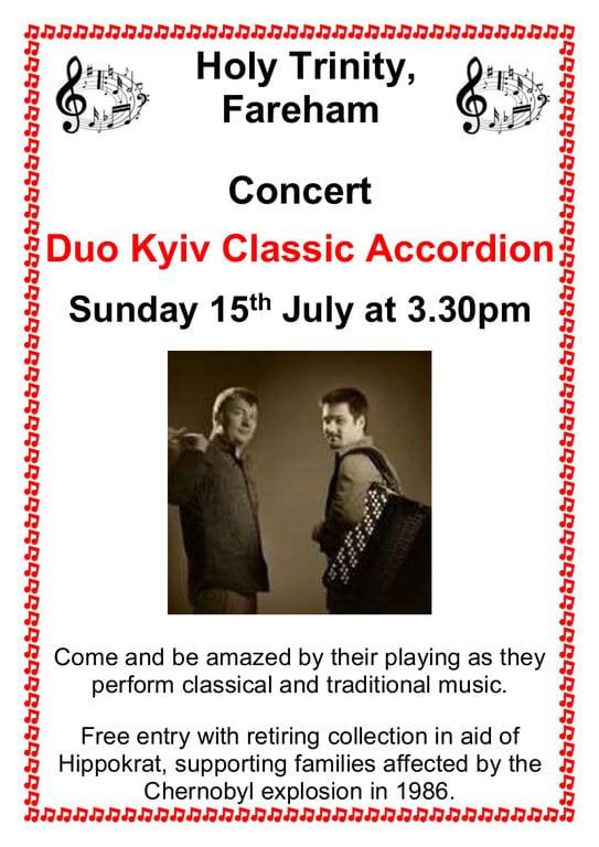 Holy Trinity Church, Fareham – Tuesday Lunchtime Concert: Duo Kyiv Classic Accordion - Holy Trinity Fareham Music Events