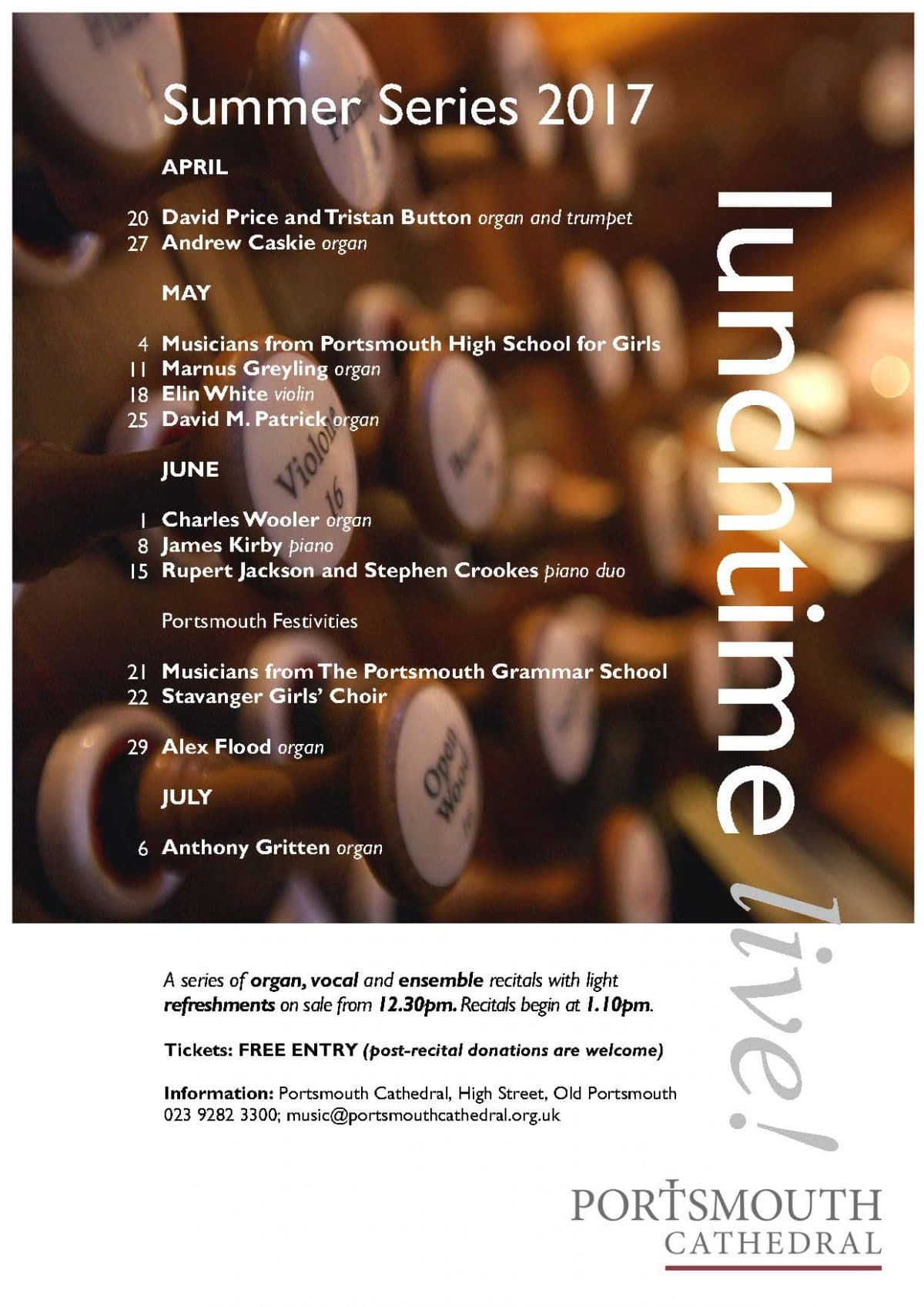 """""""LunchTime Live"""" at Portsmouth Cathedral: Alex Flood - Portsmouth Cathedral Choirs and Events"""