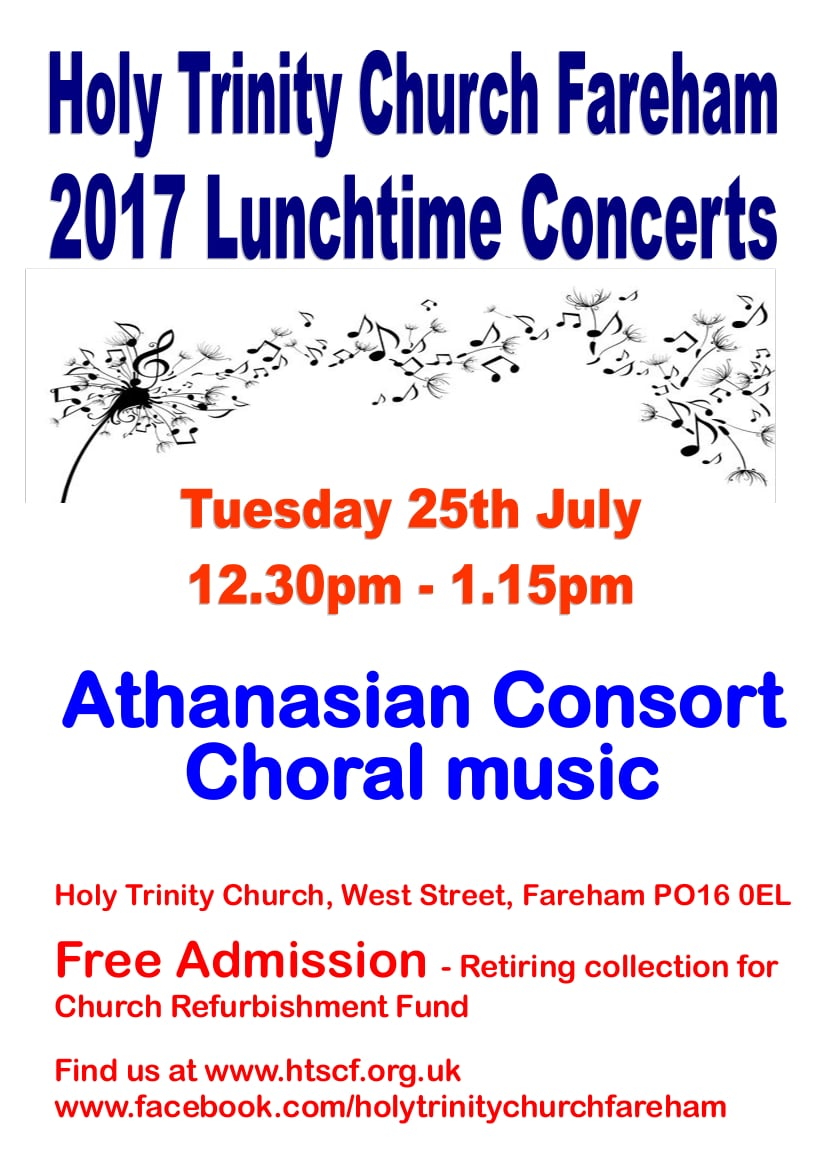 Lunchtime concert at Holy Trinity Church, Fareham – The Athanasian Consort : choral music from across the centuries - Holy Trinity Fareham Music Events
