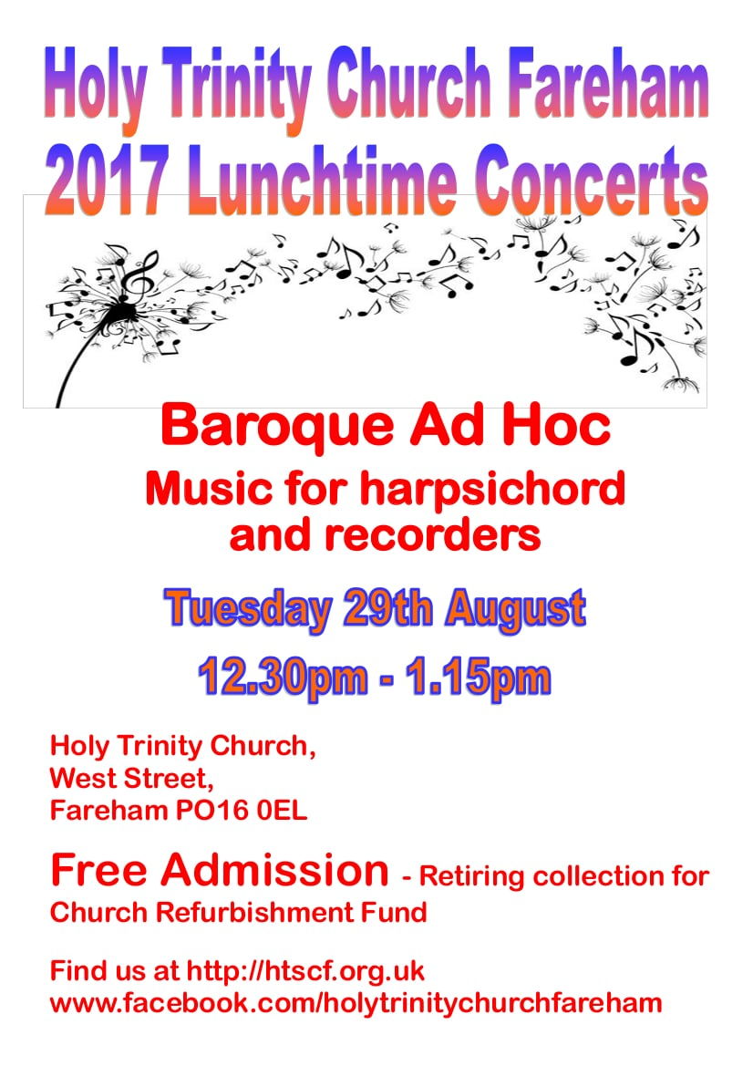 Lunchtime concert at Holy Trinity Church, Fareham – Baroque Ad Hoc: music for harpsichord and recorders - Holy Trinity Fareham Music Events
