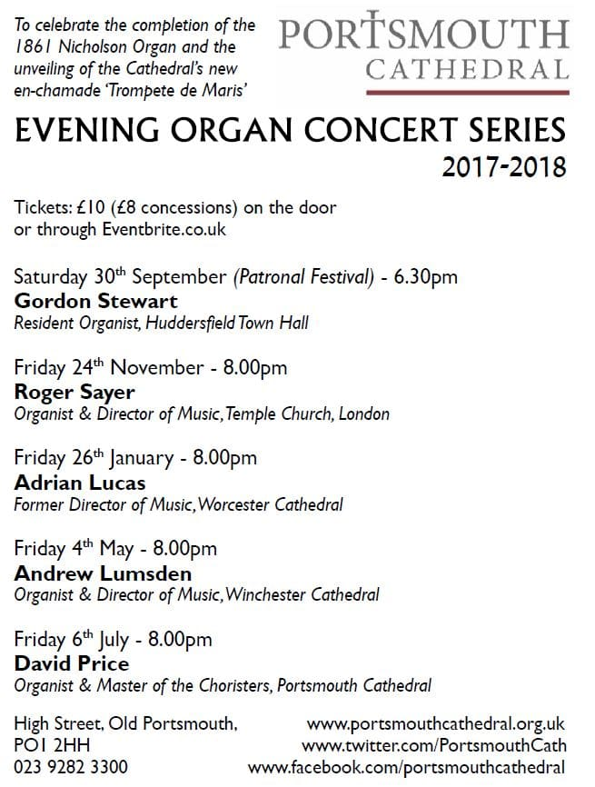 Evening Organ Concert Series at Portsmouth Cathedral: David Price - Portsmouth Cathedral Choirs and Events