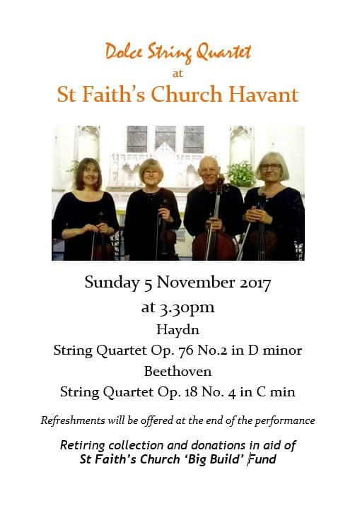 St Faith's Church Havant music events: Dolce String Quartet - St Faith's Church Havant music events