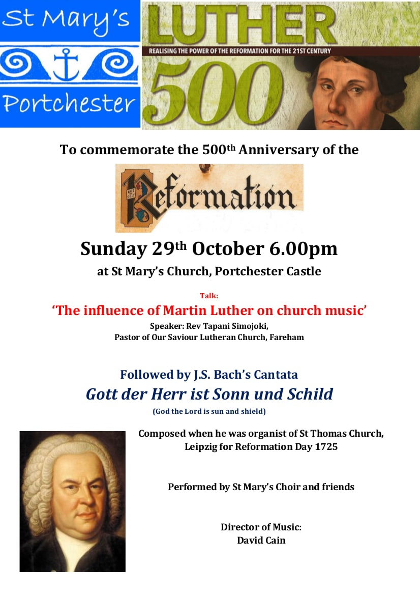 Talk and concert: the influence of Martin Luther on church music - St. Mary's Church Portchester Music Events