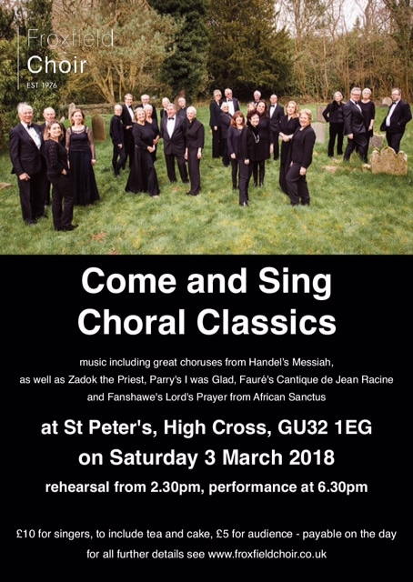 Come and sing: Parry, Handel, Haydn (new date) - Froxfield Choir