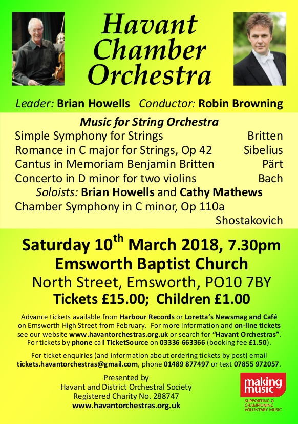 Havant Chamber Orchestra March Concert - Havant Chamber Orchestra