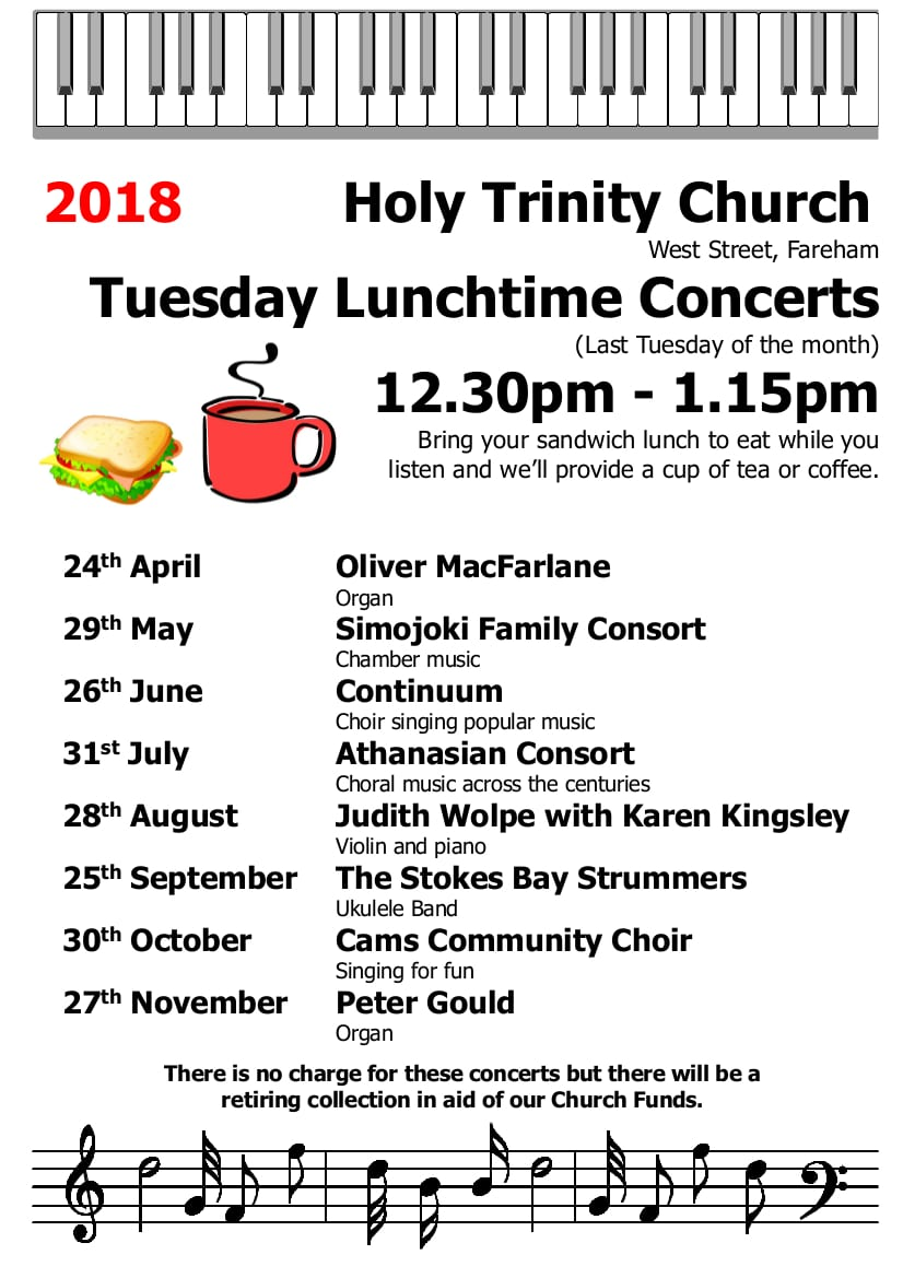 Holy Trinity Church, Fareham – Tuesday Lunchtime Concert: The Stokes Bay Strummers – Ukulele Band - Holy Trinity Fareham Music Events