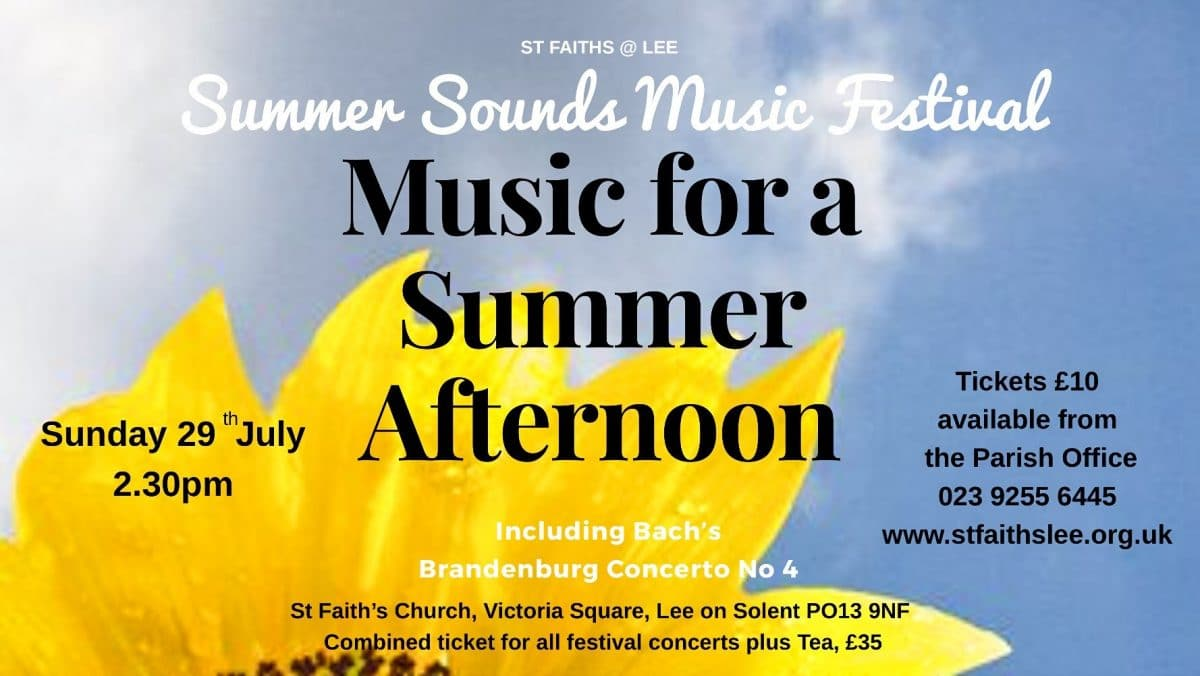 Summer Sounds Music Festival – music for a summer afternoon – Brandenburg Concerto No. 4 - St Faith's Lee Music Events