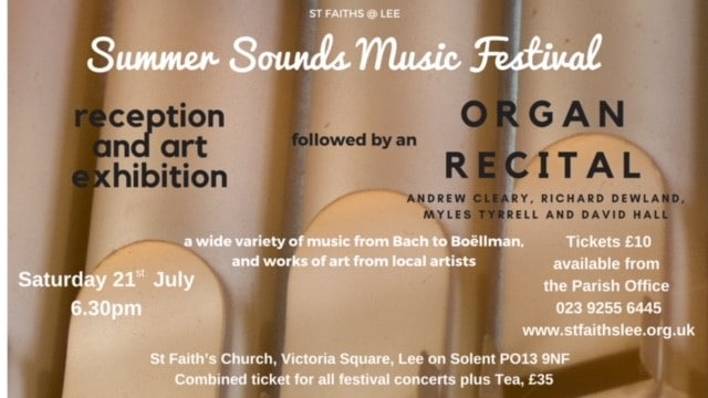 Summer Sounds Music Festival – organ recital - St Faith's Lee Music Events