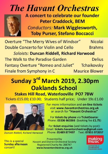 Peter Craddock celebration concert with the Havant Symphony Orchestra - Havant Symphony Orchestra