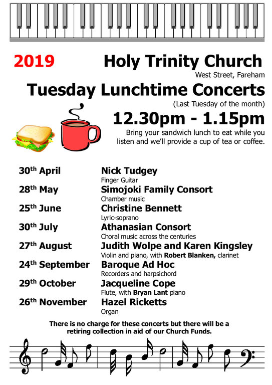 Holy Trinity Church, Fareham – Tuesday Lunchtime Concert: Baroque Ad Hoc - Holy Trinity Fareham Music Events