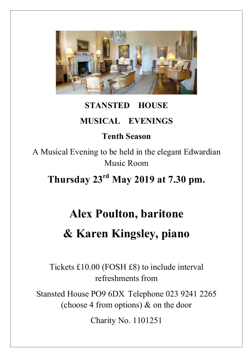 Stansted House Musical Evening: Alex Poulton & Karen Kingsley - Stansted House Musical Evenings