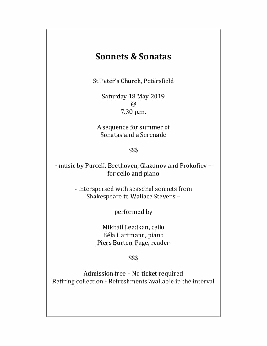 A sequence for summer of  Sonatas and a Serenade - St Peter's Church Petersfield Music Events