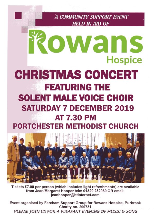Solent Male Voice Choir: Christmas 2019 concert for Rowans Hospice - Solent MVC