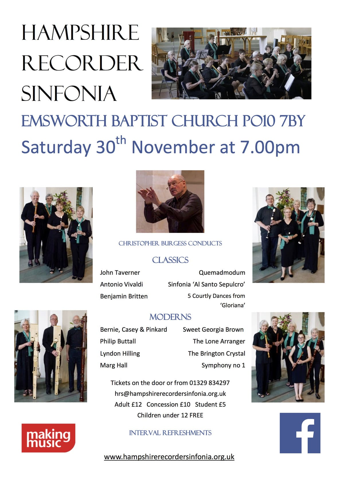 Hampshire Recorder Sinfonia	play at Emsworth Baptist Church - The Hampshire Recorder Sinfonia