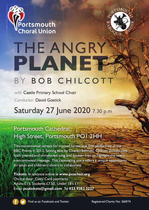The Portsmouth Choral Union with the Portsmouth Baroque Choir: Chilcott's 'The Angry Planet' – TO BE CONFIRMED - Portsmouth Choral Union