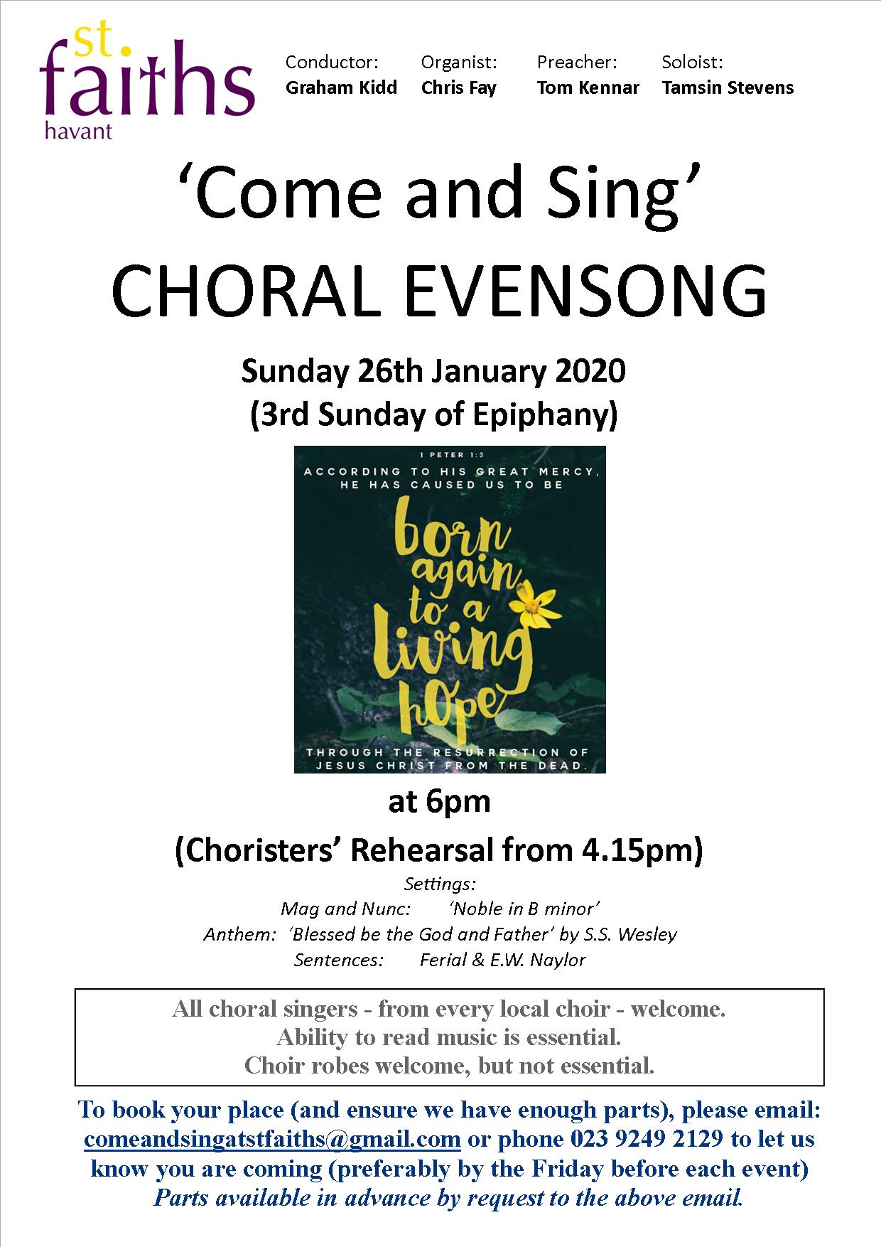 """Come and Sing"" Choral Evensong – January 2020 - St Faith's Church Havant music events"