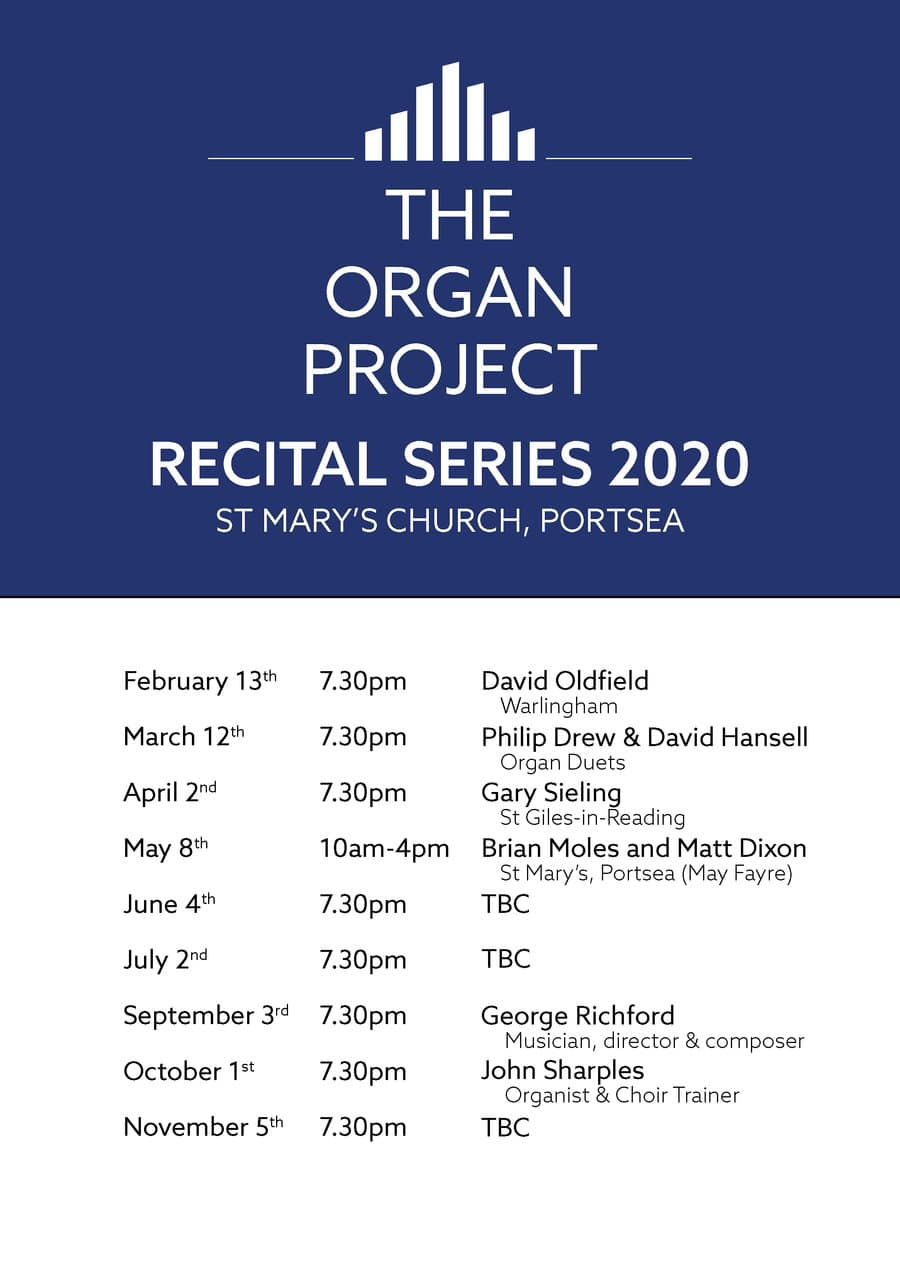 The Organ Project at St Mary's Portsea – Recital Series for 2020: John Sharples - St Mary's Music Foundation