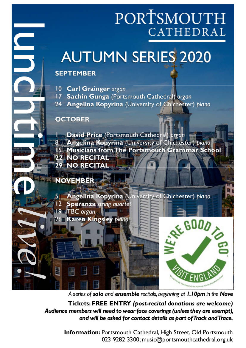 Portsmouth Cathedral Lunchtime Live series: Angelina Kopyrina, piano - Portsmouth Cathedral music events