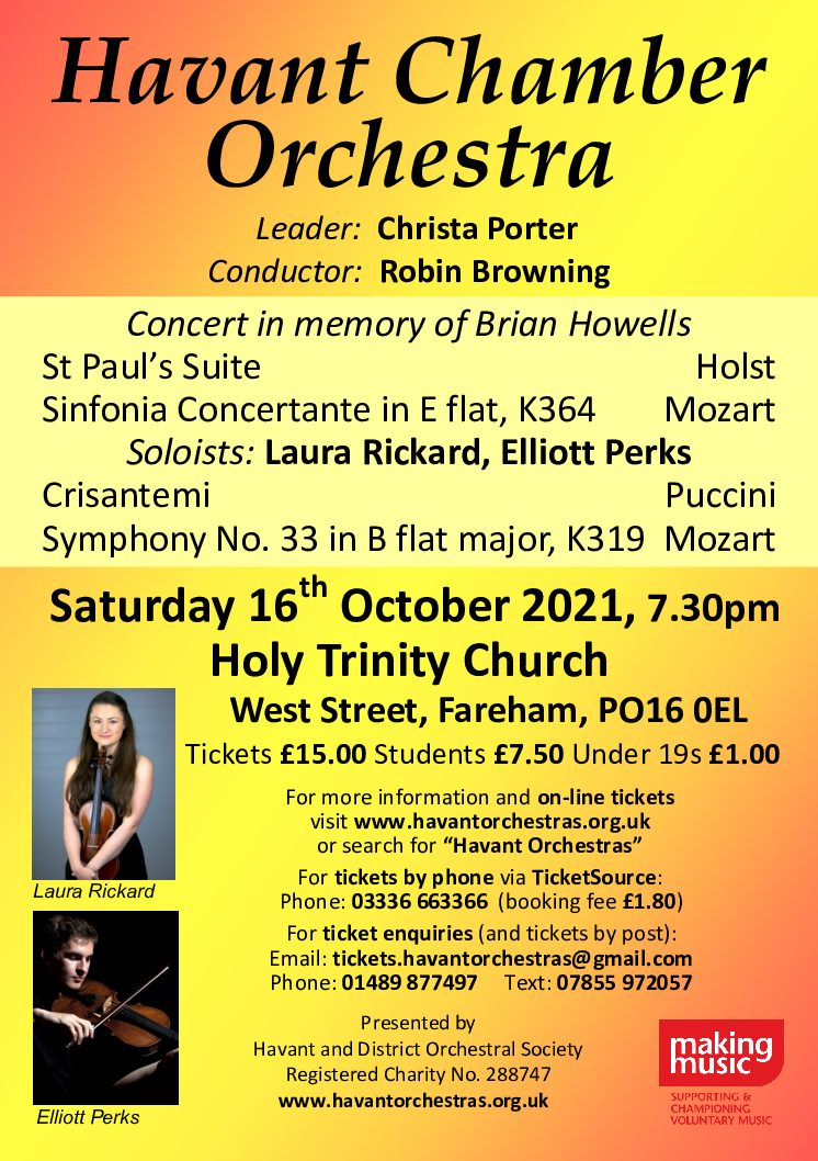 Havant Chamber Orchestra: Concert in memory of Brian Howells - Havant Chamber Orchestra